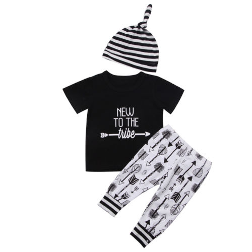 f094047ffe3ad US $5.06 11% OFF|3PCS Newborn Baby Boy Girl Outfit Casual Letter Short  Sleeve Top T Shirt+Arrow Pants Hat Clothes Set 3Pcs NEW-in Clothing Sets  from ...