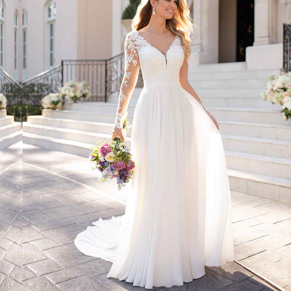 2019 Beach Long Sleeve Wedding Dress Top Lace Applique Chiffon vestido de noiva boho vintage Custom