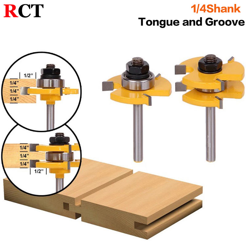 2 pc6.35mm Shank high quality Tongue & Groove Joint Assembly Router Bit Set 3/4 Stock Wood Cutting Tool - RCT15215 2pcs high quality 1 4 shank tongue