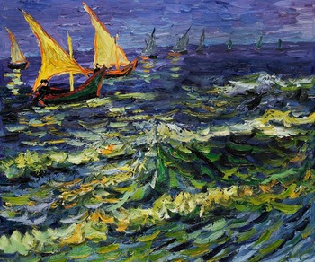 High quality Oil painting Canvas Reproductions Seascape at Saintes Maries de la Mer by Van Gogh Painting hand painted