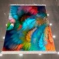 Оранжевый  синий  красный  оранжевый  зеленый  розовый  3d Рисунок  микрофибра  принт  противоскользящий  задний моющийся  декоративный ковер ...