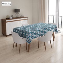 Large Table Cloth Geometric Abstract Triangles Diamond Mosaic Puzzle Art Illustration White Yellow 145x120 cm / 145x180 cm