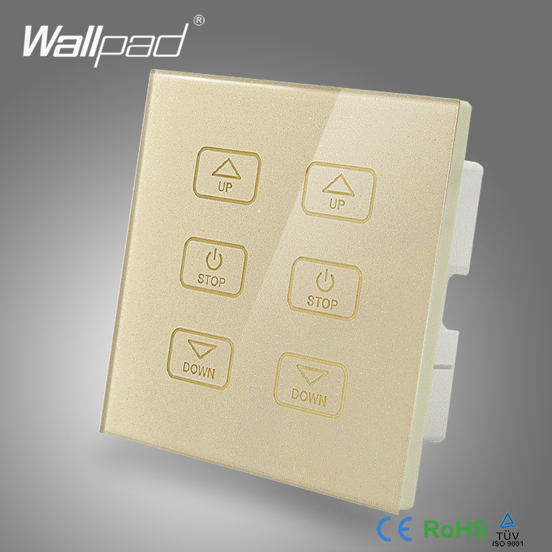 110V 250V LED Smart Dimmer Switch Wallpad Gold Glass Touch Panel 6 Buttons Dimmer Touch Control