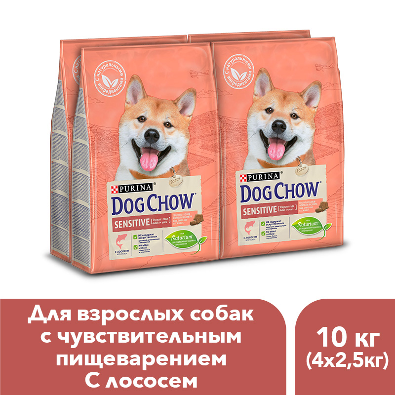 Dog Chow dry food for adult dogs over 1 year old with sensitive digestion with salmon, 10 kg. dog food dog chow adult sensitive for adult dogs of all breeds with sensitive digestion salmon 2 5 kg