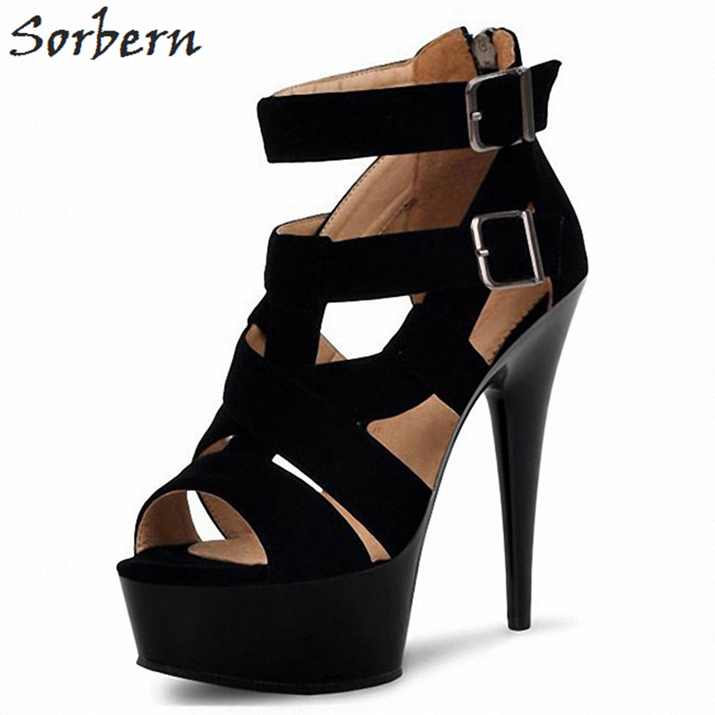 Sorbern 15Cm/17Cm Black Spike High Heels Women Sandals Party Sandals For Women Heeled Sandals Sexy High Strappy Heels Platform