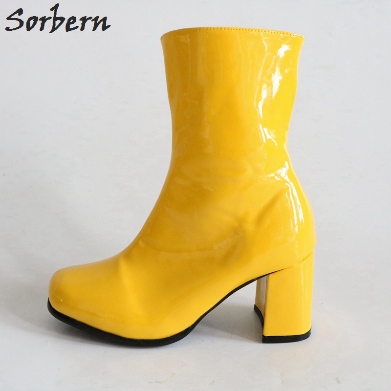 Chunky Bottes Pour Punk Carré Color Chaussures Talons Femmes Militaire Cheville Custom yellow Sorbern Taille Dames Automne 43 N8ymv0nwO