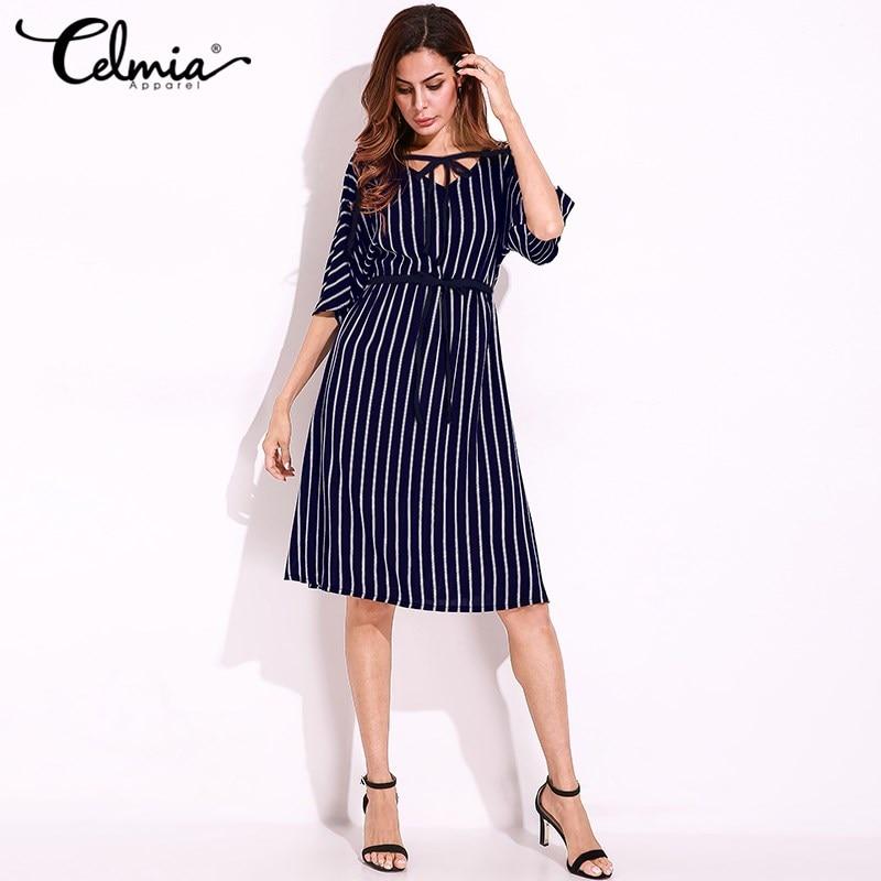 2018 Elegant Vintage Women Stripe Shirt Dress Short Sleeve Tunics Casual Office Work Lady Dresses Plus Size 5XL Vestidos Mujer