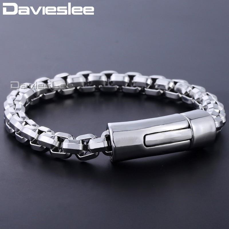 Davieslee Bracelet For Men Wristband Bangle Big Box Link Chain 316L Stainless Steel Men's Jewelry 8mm DHB464 цена