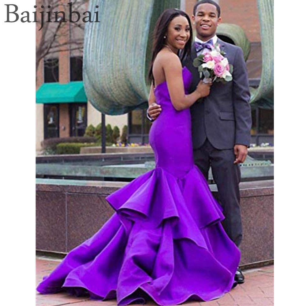 Baijinbai Satin Sweetheart Formal   Prom     Dresses   Mermaid Ruffles Evening Party Gowns Lace Up Closure Pageant Backless Sexy   Dress