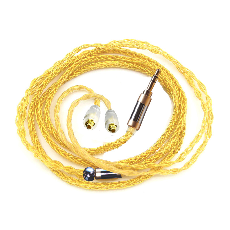 PZ G8 8 cores Plating Gold Cable 3.5MM 2.5mm Balanced Plug Earphone Cable MMCX Cable Can Custom Made Plug And Pin Free Shipping