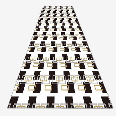 Else Black White Rectangle Lines Geometrics 3d Print Non Slip Microfiber Washable Long Runner Mat Floor Mat Rugs Hallway Carpets