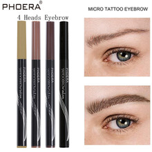 PHOERA New Automatic 4 Heads Microblading Eyebrow Pencil Waterproof Tattoo With Brush Long Lasting Eye Brow Pen TSLM2