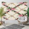 Else кремовые цветы на розовых цветах зеленые листья плюща 3D печать декоративные хиппи богемный настенный гобелен с пейзажем настенное искус...
