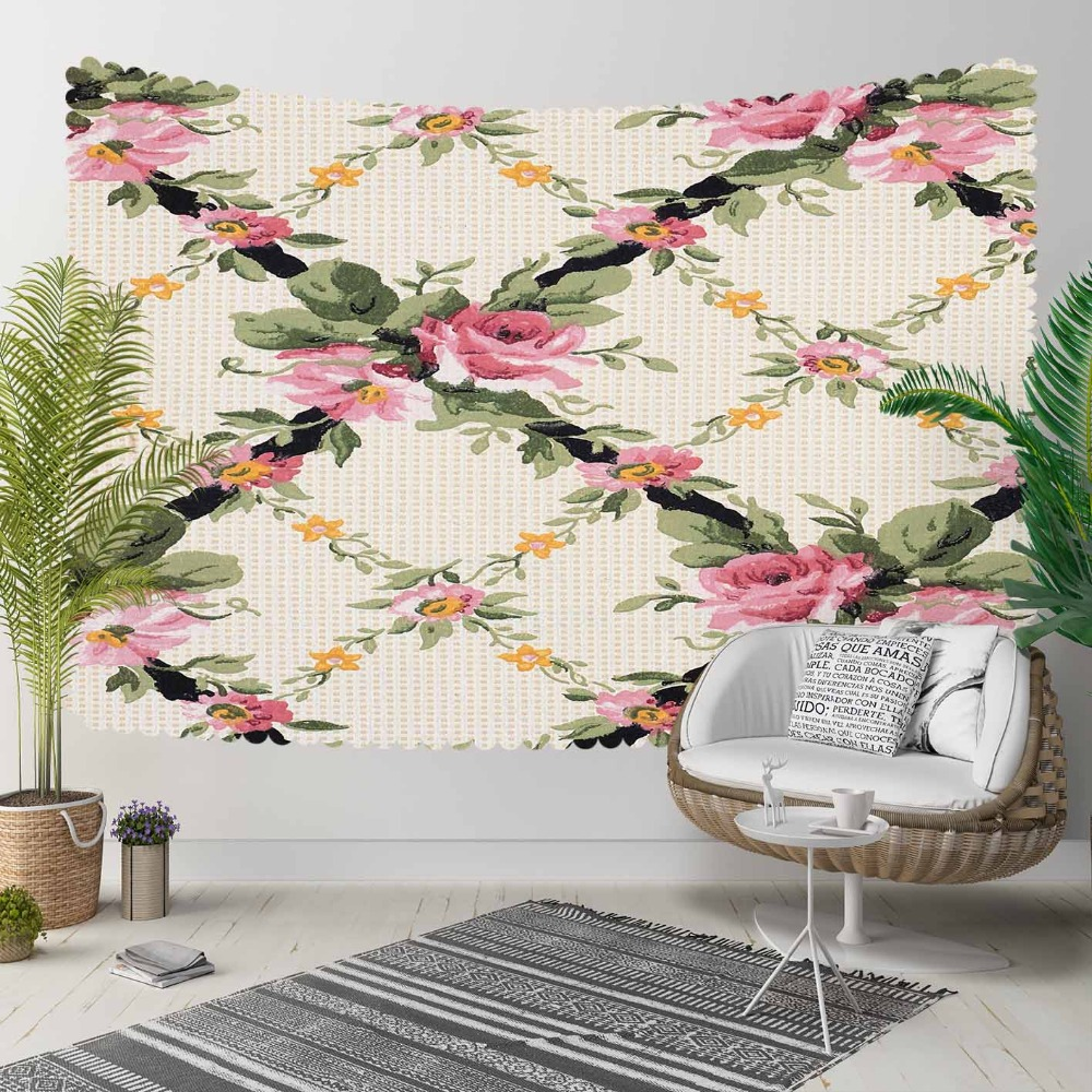 Else Cream Floral On Pink Flowers Green Ivy Leaves 3D Print Decorative Hippi Bohemian Wall Hanging Landscape Tapestry Wall Art