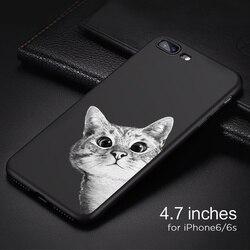 IIOZO 케이스 아이폰 6 6 초 플러스 귀여운 고양이 공간 달 고양이 남자 팬더 상어 동물 전화 보호 커버 쉘 아이폰 6 케이스