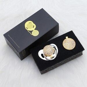 Image 2 - MIYOCAR altın bling renkli emzik ve klip seti kukla pacifire zincir SGS pass BPA ücretsiz güvenli AC 8