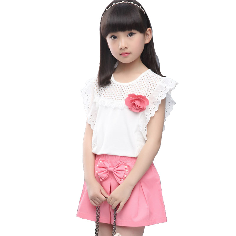Kids girls short-sleeved suit 2017 new summer children's cotton casual T-shirt big virgin piece shorts girls clothes 3-12 years