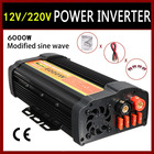 Solar Power Car Inverter 12000 Watts Peak 6000W 12 DC To 220V Volt AC USB Modified Sine Wave Auto Charger Converter Transformer
