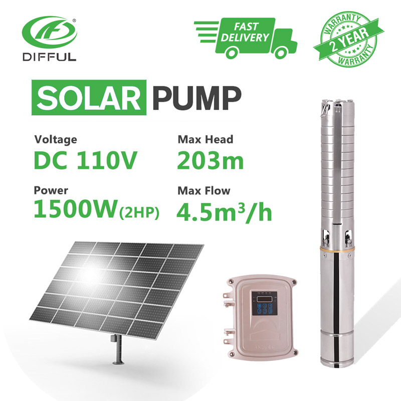 4 DC Deep Well Solar Water Pump 110V 2HP MPPT Controller with Stainless Steel Impeller Borehole Sun Power High Pressure4 DC Deep Well Solar Water Pump 110V 2HP MPPT Controller with Stainless Steel Impeller Borehole Sun Power High Pressure