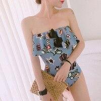 Vertvie Stars Cartoon Bikini Swimwear Sexy Swimsuit Women One Piece Blue Bathing Suit Bikini Set Summer