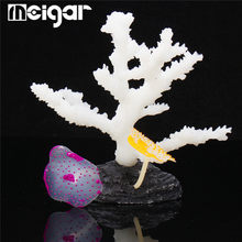 Glowing Effect Branch Coral Aquarium Ornament Artificial Fish Silicone Vivid Simulation Fish Tank Decor Aquarium Landscaping(China)