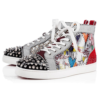 Luxury Shiny Sequin Flock Mens Casual Shoes Fashion Mixed Color Crystal Rivets High Top Sneakers Runway Party Wedding Shoes Men