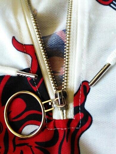Lychee Harajuku Devil Print Hooded Women Sweatshirt Metal Ring Zipper Casual Loose Long Sleeve Female Pullovers Hoodies photo review