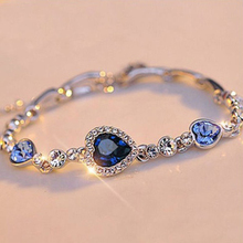 Women Lady Fashion Zircon Rhinestone Bangle Ocean Heart Pendant Bracelet Jewelry