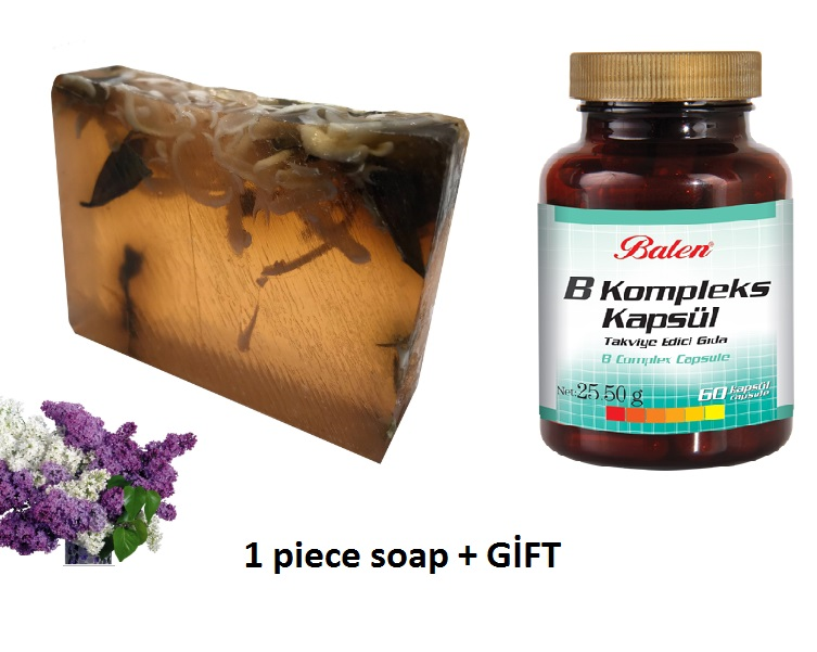 (gift Items)HANDMADE LILAC Essential Oil 100gr Soap+Gift Food Supplement B Vitamin Complex Bar Mix Ingredients