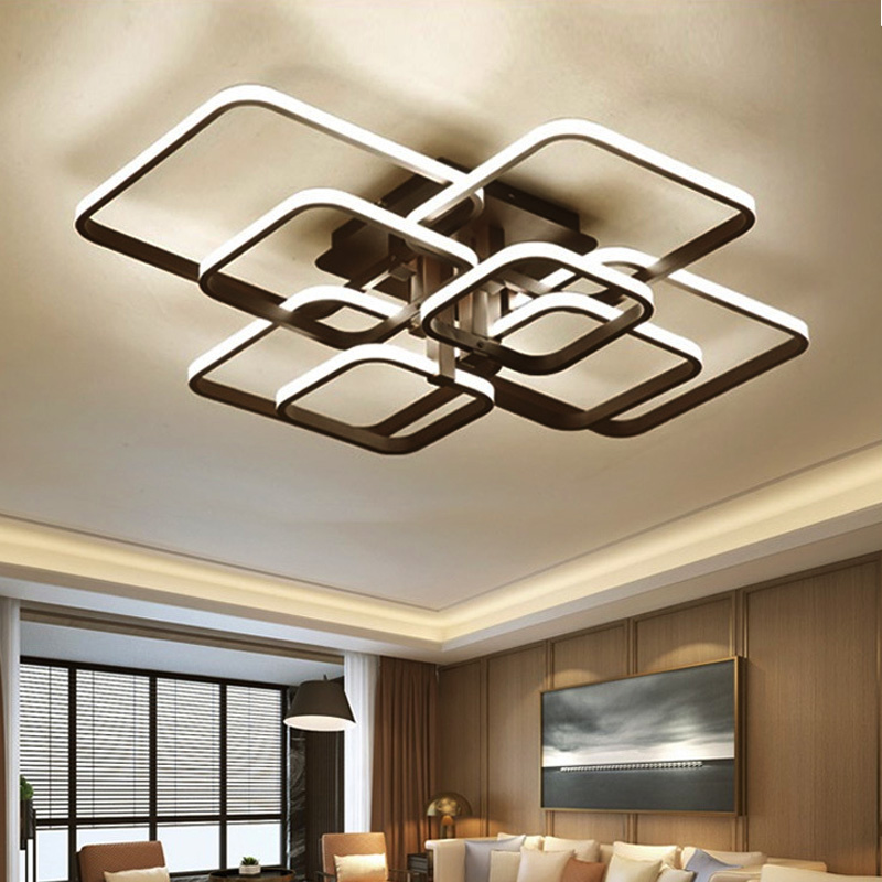 Modern LED Chandeliers Lighting For Living Room With Remote Control Bedroom Home Decor Black Lamps Lights