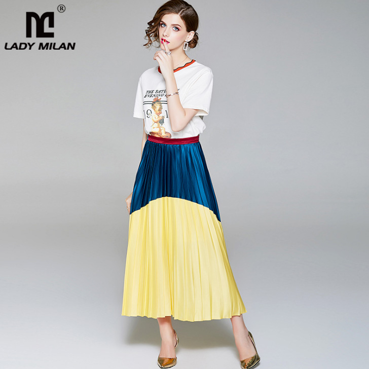 New Arrival 2018 Womens O Neck Letters Printed Short Sleeves T Shirt with Color Block Pleated Skirt Fashion Runway Twinsets