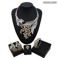 YULAILI большое ожерелье в виде цветка ожерелье набор серег роскошный полный Кубический Цирконий Свадебный Комплект бижутерии из латуни для ж