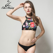 Swimwear Women Bikini Lace Patchwork Swimsuits Push-Up Low Waist Neck Bandage Set Bodysuits Beachwear Biquini