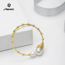 ANI 14K Roll Gold Handmade Women Bangle Natural Freshwater White Pearl Gold Fashion Design Fine Jewelry Baroque Shape Bracelets nymph seawater pearl bracelets fine jewelry near round natural pearl bangles for women gold trendy anniversary gift [s308]