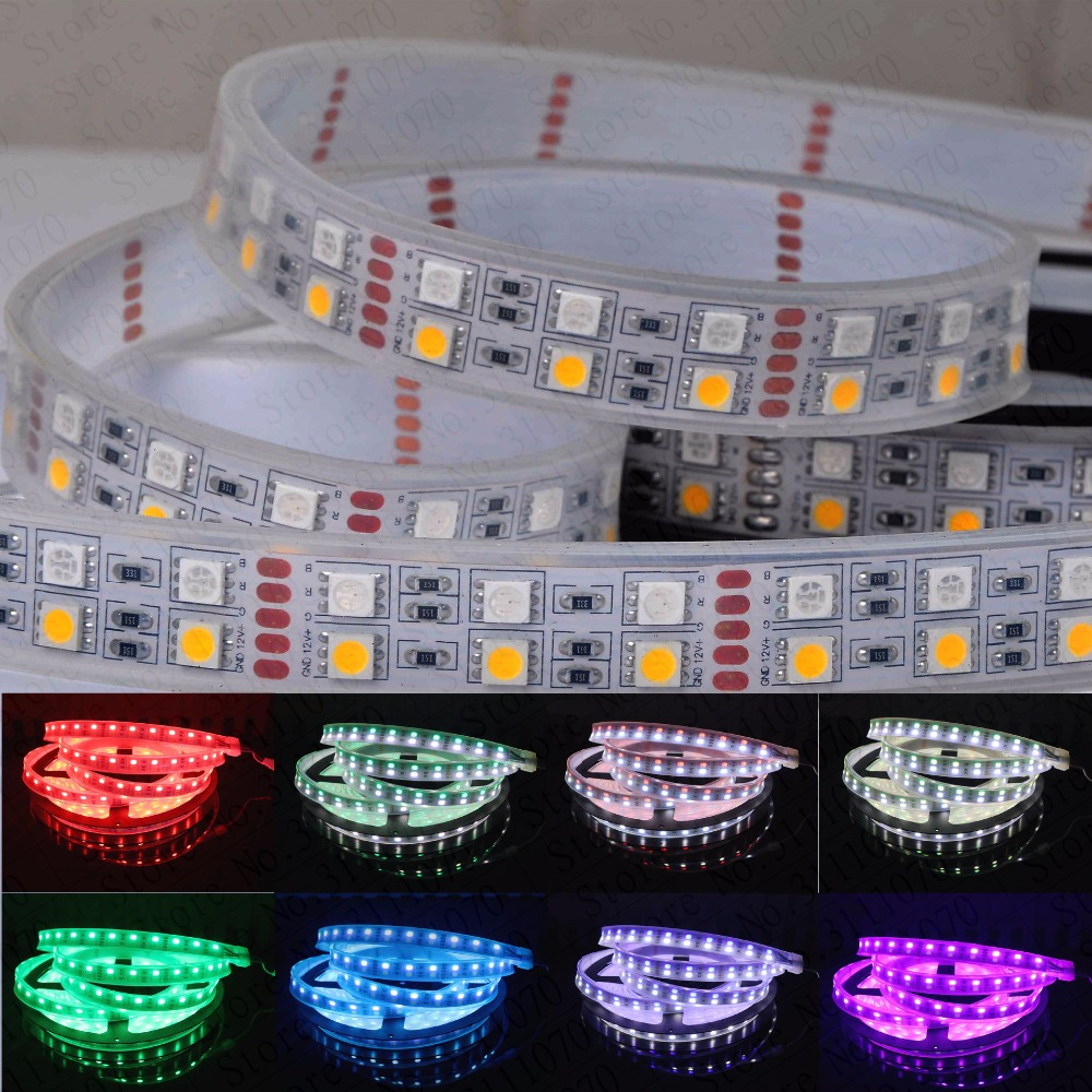 DC12V 5M Double Row waterproof 5050 SMD RGBW Flexible LED Strips RGBWW RGB+White/warm white 5M 120led/M 600LEDs IP20/IP67 auxmart triple row led chips 12 led