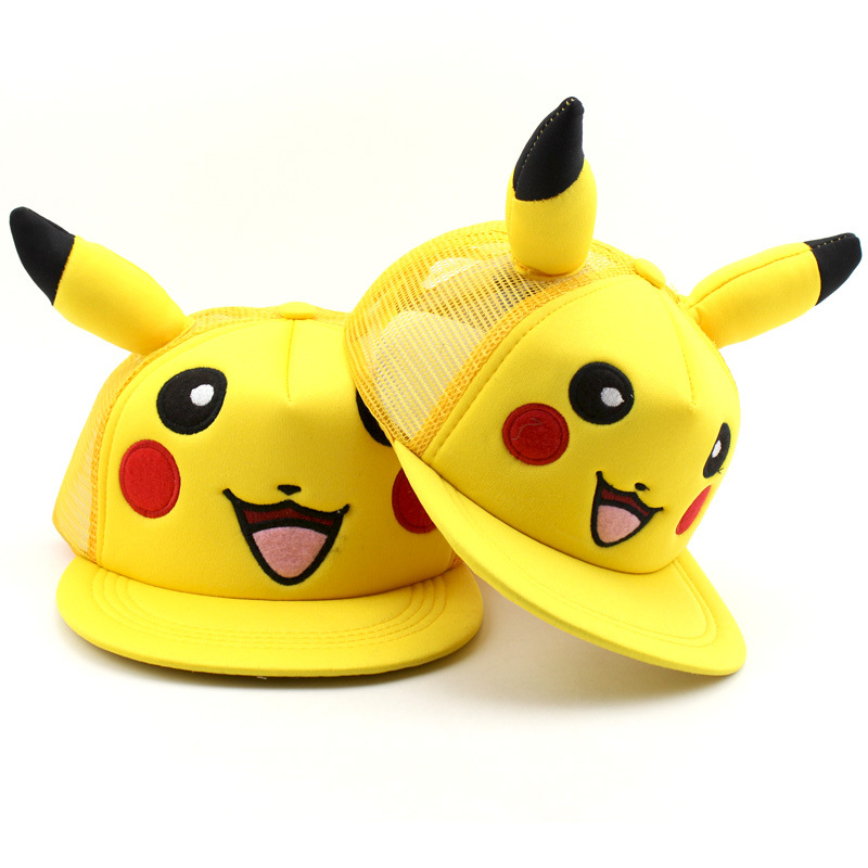 2018 New Fashion Anime Cartoon Pokemon Pikachu Baseball Caps Parent-Child Adult Children Hip Hop Hats Outdoor Shade Cap