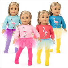 Fit 18 inch 40-43cm Born New Baby Girl Doll Clothes 2 pieces Red, yellow, blue Flamingo yarn suit accessories For Gift