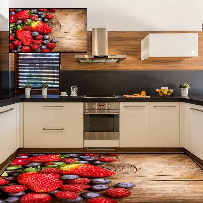 Else Brown Wood On Red Strawberrys Fruits 3d Print Non Slip Microfiber Kitchen Modern Decorative Washable Area Rug Mat