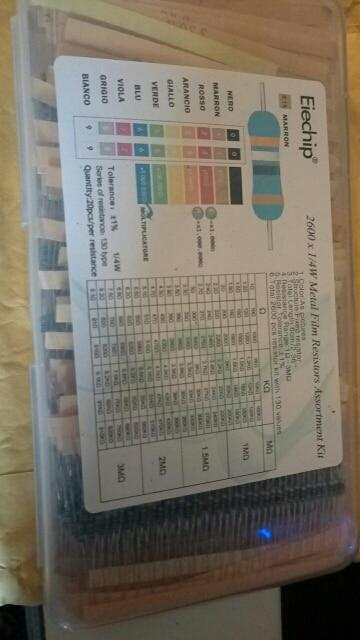 2600pcs/lot 130 Values 1/4W 0.25W 1% Metal Film Resistors Assorted Pack Kit Set Lot Resistors Assortment Kits Fixed resistor