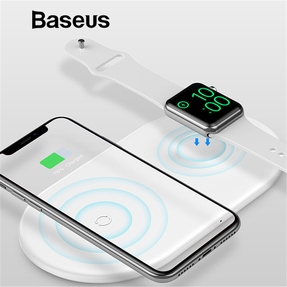 BASEUS 2 in 1 Fast Charging Wireless Charger for Apple Watch 3 4 Qi Wireless Charger For iPhone X Xs Max XR For Samsung S9 Note k8 qi wireless charging transmitter pad for nokia lumia 820 920 samsung galaxy s3 i9300 note 2