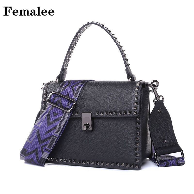 FEMALEE Rivet Women Messenger Bags Luxury Handbags Women Bags Designer Jelly Bag Fashion Shoulder Bag Women Genuine Leather Tote genuine leather handbags 2018 luxury handbags women bags designer women s handbags shoulder bag messenger bag cowhide tote bag
