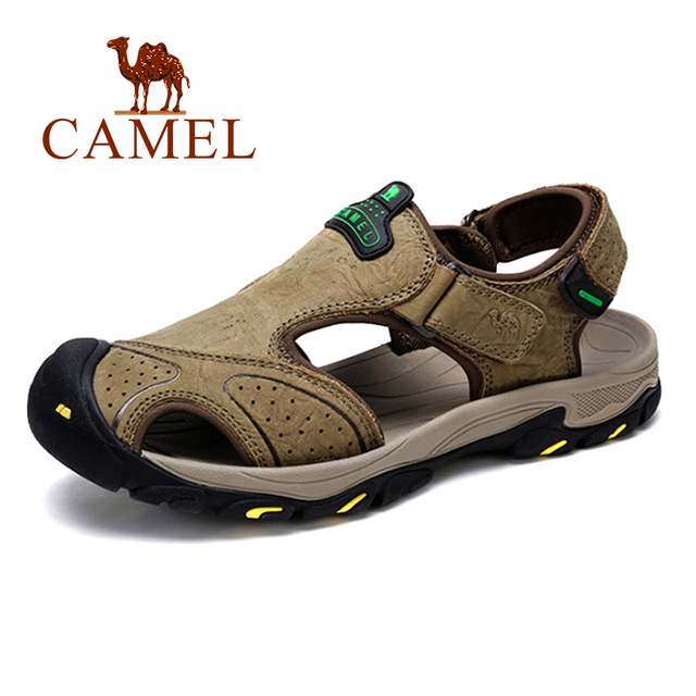 6a92bb7d63541 US $58.88 |CAMEL Summer Men's Sandals Casual Outdoor Beach Shoes Genuine  Leather Men Sandals Man chaussure homme Male Flats-in Men's Sandals from ...