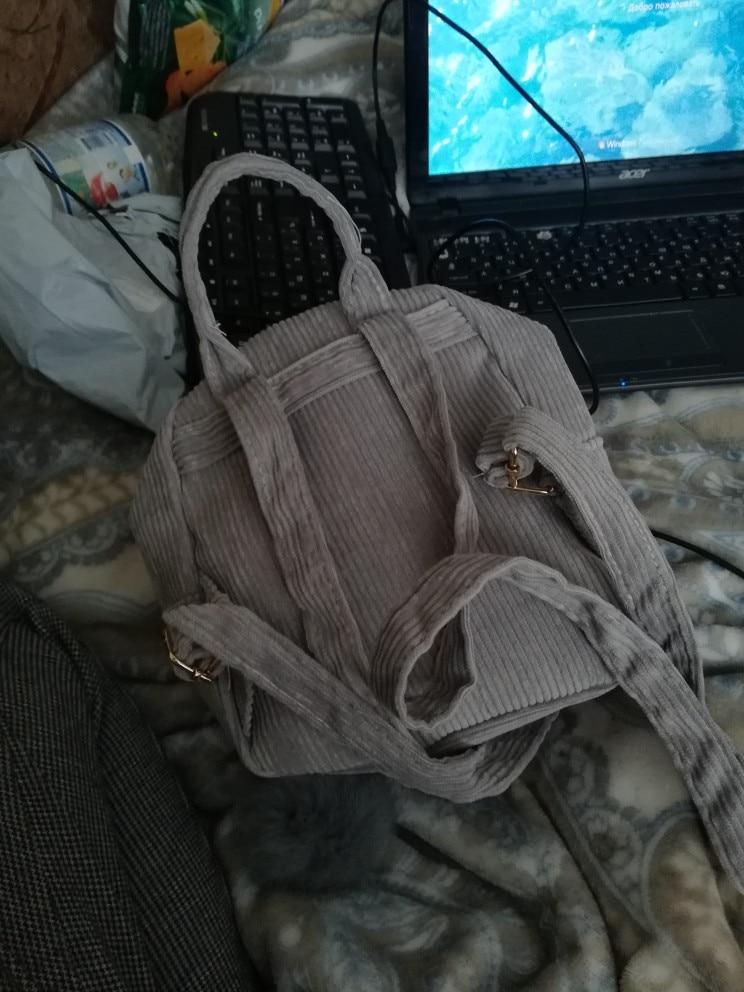 Nieuwe stijl fluweel mini schoolrugzak voor meisje schooltas tiener pack corduroy vrouwen rugzakken mochila feminina schoudertassen photo review
