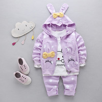 Clothing Set Baby Female Child Sports 4 Dot Color Rabbit Clothes Spring And Autumn Three Pieces