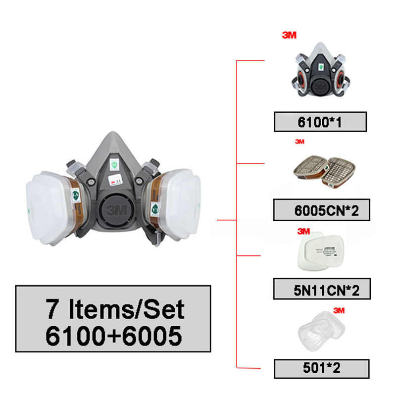 3 M 6100 + 6005 taille S demi masque respiratoire réutilisable 3 M formaldéhyde/cartouche de vapeur organique 7 articles pour 1 Set LT035