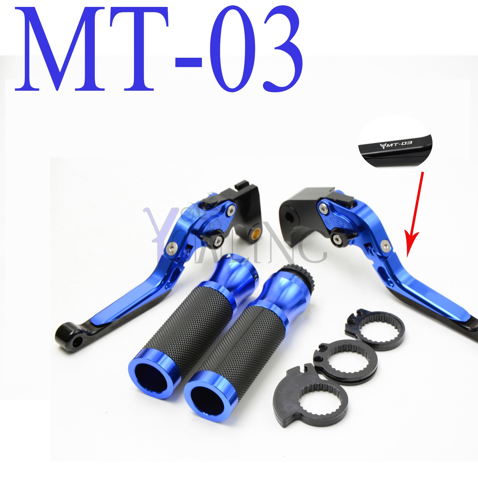 With MT-03 logo CNC Motorcycle Brake clutch lever handle grips For YAMAHA MT-03 MT03 ( 2015 2016 2017 ) 6 colors cnc adjustable motorcycle brake clutch levers for yamaha yzf r6 yzfr6 1999 2004 2005 2016 2017 logo yzf r6 lever