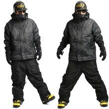 Новая Модель премиум-класса «Southplay» Зима 10000 мм водонепроницаемый лыжный сноуборд(куртка+ брюки) наборы-Северная с черными брюками