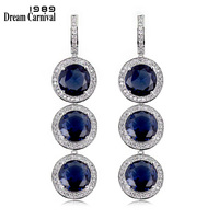 DreamCarnival1989 Timeless Dangles Design Blue Black Red Stones Zircon Fancy 3 Big Crystal Wedding Party Drop Earrings 65915 01