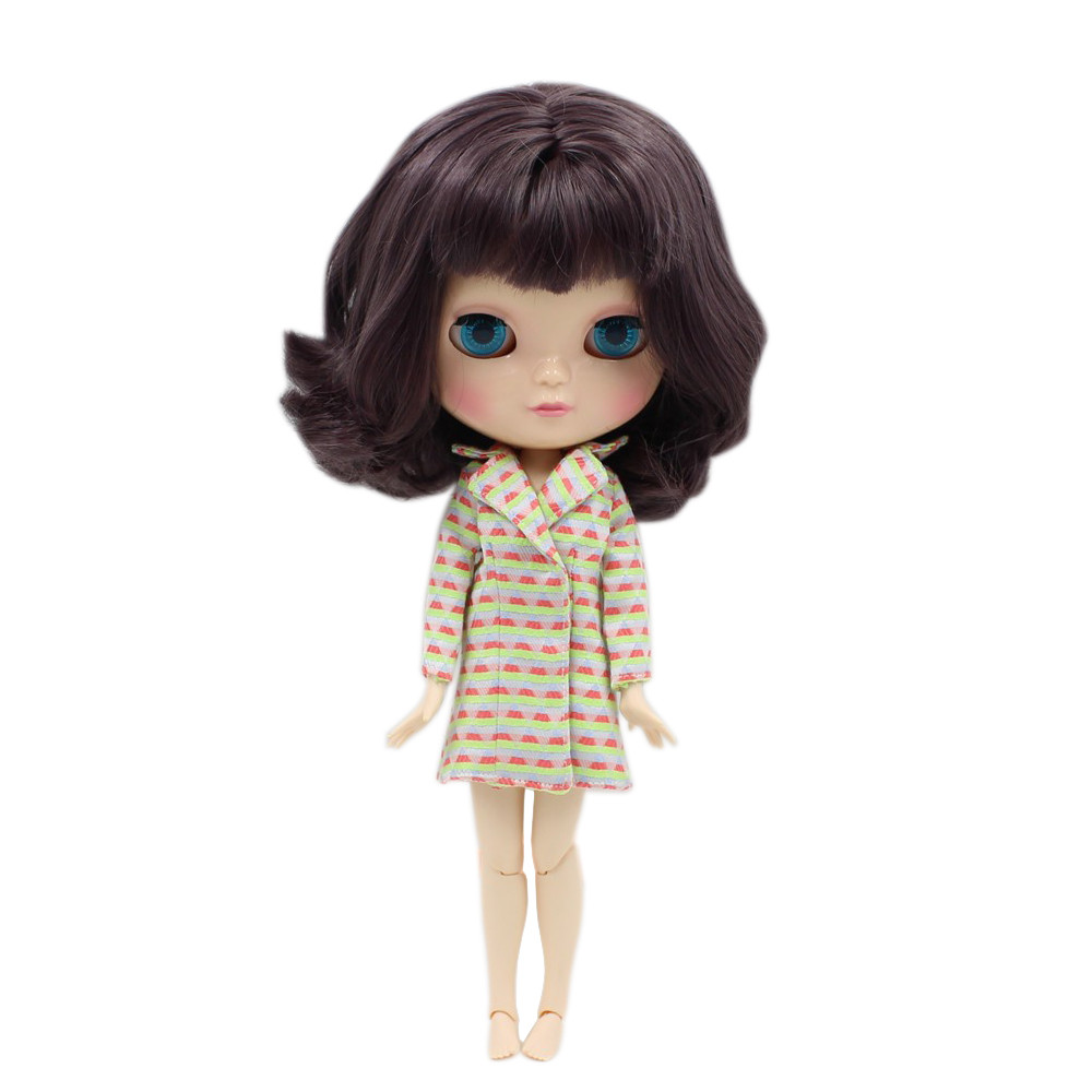 ICY doll short wavy hair dark purple hair with bangs joint body joint doll 130BL9219 graceful short side bang fluffy natural wavy capless human hair wig for women