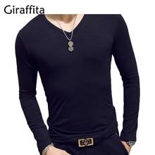 Giraffita T Shirt Men Long Sleeve New Fashion 2017 Spring Men's Brand Clothing Casual Slim V-neck Cotton T Shirt Homme Tees